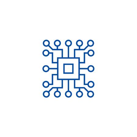 Informatyka, ikona koncepcja linii obwodu. Informatyka, obwód płaski wektor strony internetowej znak, symbol konspektu, ilustracja.