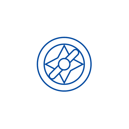 Compass illustration line concept icon. Compass illustration flat  vector website sign, outline symbol, illustration.