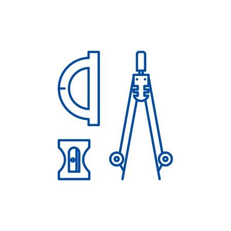 Bussola, affilatrice, icona del concetto di linea di righello. Bussola, temperino, righello sito web piatto vettore segno, simbolo di contorno, illustrazione. Vettoriali