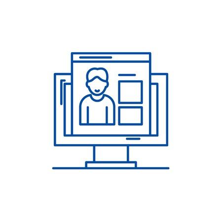 Competences line concept icon. Competences flat  vector website sign, outline symbol, illustration.