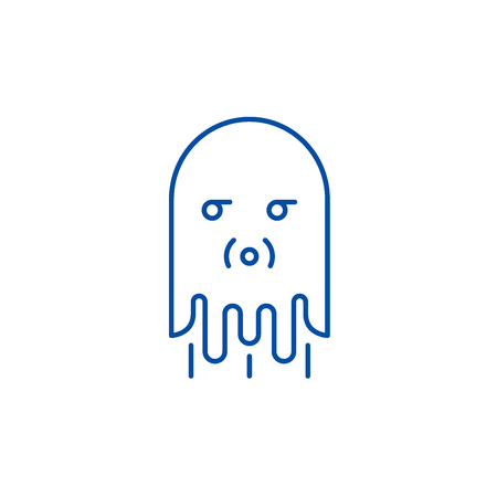 Computer monster line concept icon. Computer monster flat  vector website sign, outline symbol, illustration.