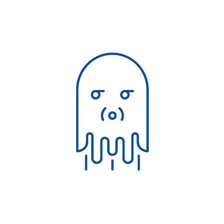 Computer monster line concept icon. Computer monster flat  vector website sign, outline symbol, illustration.