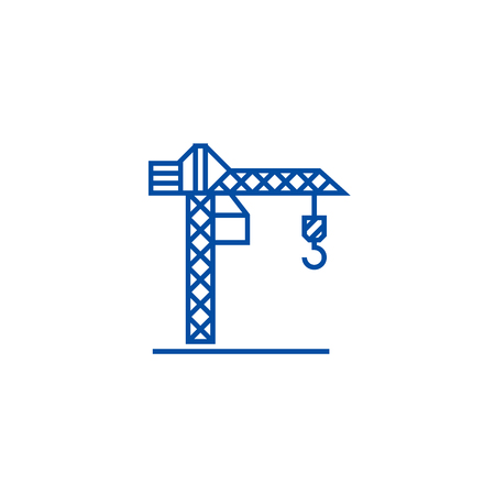 Construction crane  line concept icon. Construction crane  flat  vector website sign, outline symbol, illustration. Фото со стока - 119725600