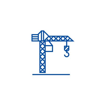 Construction crane  line concept icon. Construction crane  flat  vector website sign, outline symbol, illustration.