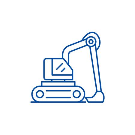 Construction excavator line concept icon. Construction excavator flat  vector website sign, outline symbol, illustration.