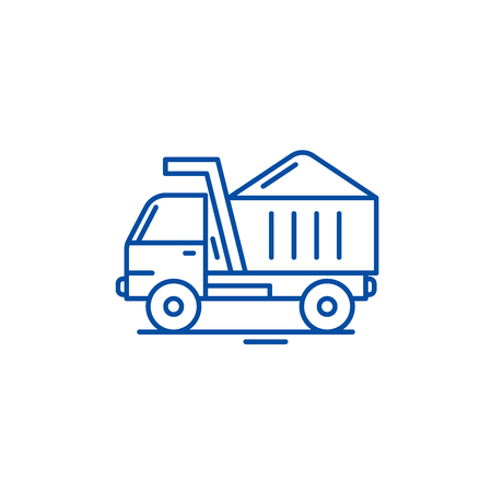 Construction machine line concept icon. Construction machine flat  vector website sign, outline symbol, illustration.