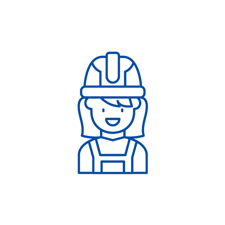 Construction master line concept icon. Construction master flat  vector website sign, outline symbol, illustration.