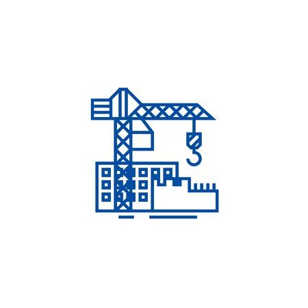 Construction buildings line concept icon. Construction buildings flat  vector website sign, outline symbol, illustration.
