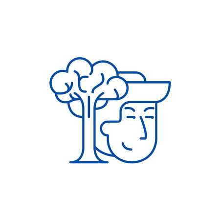Conservationists line concept icon. Conservationists flat  vector website sign, outline symbol, illustration.