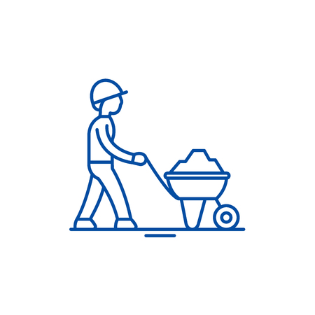 Construction works line concept icon. Construction works flat  vector website sign, outline symbol, illustration. Illustration