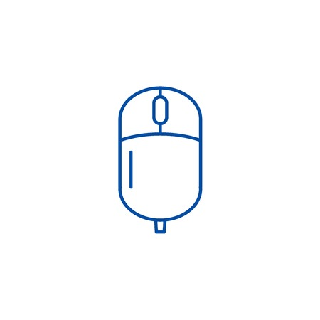 Computer wireless mouse line concept icon. Computer wireless mouse flat  vector website sign, outline symbol, illustration.
