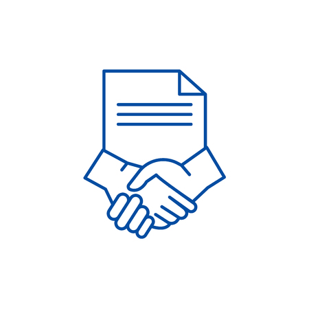 Conclusion of a contract line concept icon. Conclusion of a contract flat  vector website sign, outline symbol, illustration.