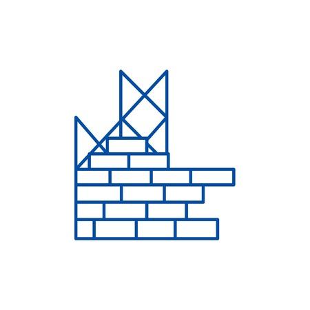 Construction, building brick wall line concept icon. Construction, building brick wall flat  vector website sign, outline symbol, illustration.