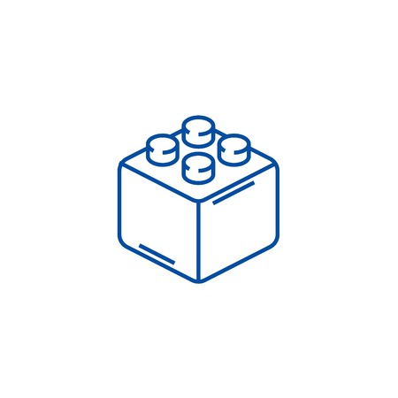 Constructor bricks line concept icon. Constructor bricks flat  vector website sign, outline symbol, illustration. Illustration