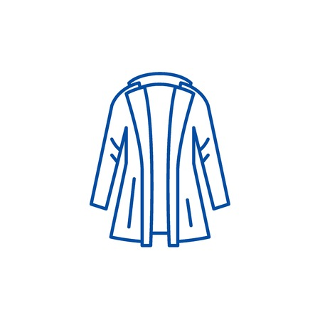 Coat line concept icon. Coat flat  vector website sign, outline symbol, illustration.