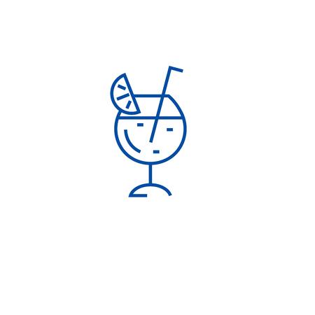 Cocktail glass line concept icon. Cocktail glass flat  vector website sign, outline symbol, illustration.