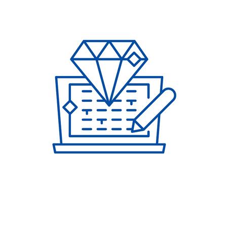 Code development line concept icon. Code development flat  vector website sign, outline symbol, illustration.