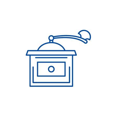 Coffee grinder line concept icon. Coffee grinder flat  vector website sign, outline symbol, illustration. Stock Illustratie