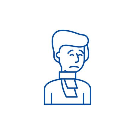 Cold line concept icon. Cold flat  vector website sign, outline symbol, illustration.