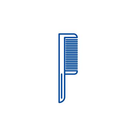 Comb one line concept icon. Comb one flat  vector website sign, outline symbol, illustration. Illustration