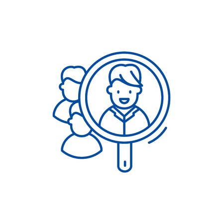Consumer research line concept icon. Consumer research flat  vector website sign, outline symbol, illustration. Illustration