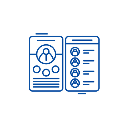Contact book line concept icon. Contact book flat  vector website sign, outline symbol, illustration.