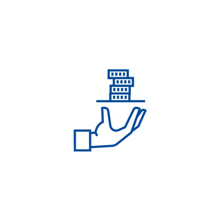 Contributor,service hand with money line concept icon. Contributor,service hand with money flat  vector website sign, outline symbol, illustration. Иллюстрация