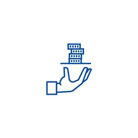 Contributor,service hand with money line concept icon. Contributor,service hand with money flat  vector website sign, outline symbol, illustration. Illustration