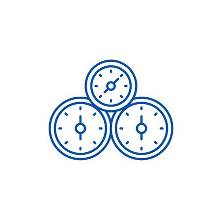 Control panel line concept icon. Control panel flat  vector website sign, outline symbol, illustration. 向量圖像