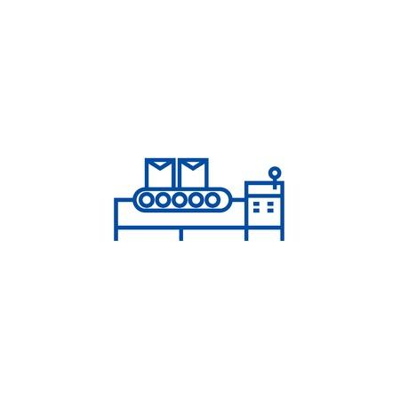 Conveyor belt line concept icon. Conveyor belt flat  vector website sign, outline symbol, illustration. Banque d'images - 119726672