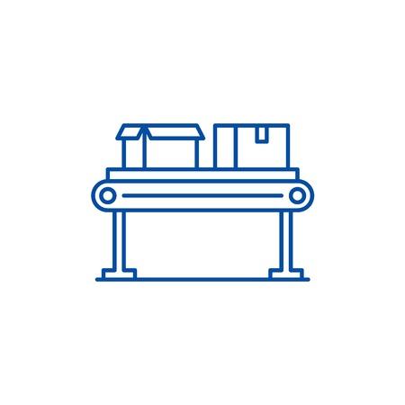 Conveyor line line concept icon. Conveyor line flat  vector website sign, outline symbol, illustration. Banque d'images - 119726673