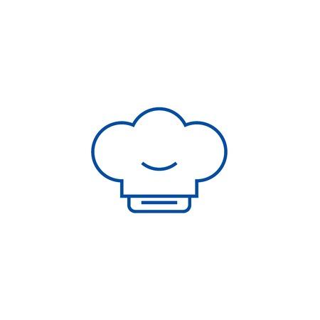 Cook hat line concept icon. Cook hat flat  vector website sign, outline symbol, illustration.