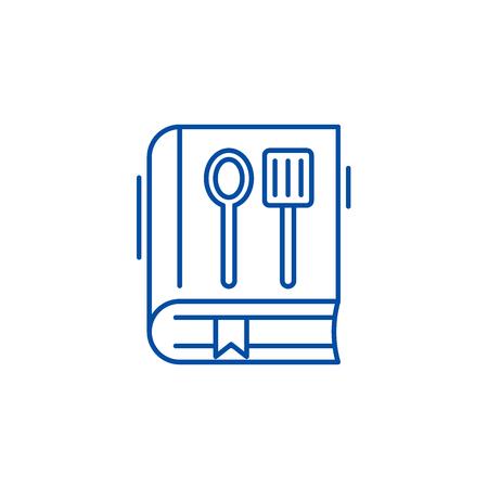 Cookbook line concept icon. Cookbook flat  vector website sign, outline symbol, illustration. Stock Illustratie