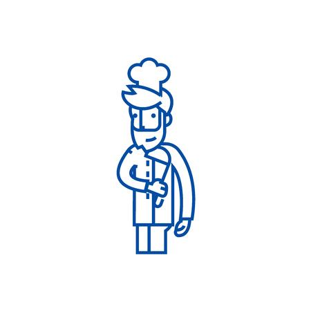 Cooker, restaurant chef line concept icon. Cooker, restaurant chef flat  vector website sign, outline symbol, illustration.