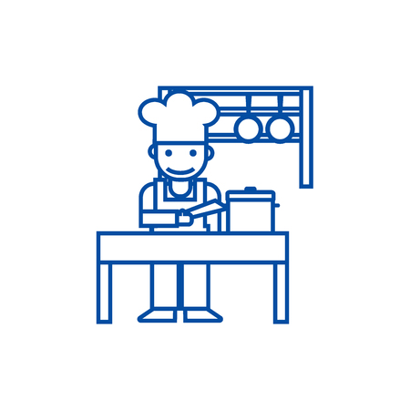 Cooker,shef,kitchen, restaurant line concept icon. Cooker,shef,kitchen, restaurant flat  vector website sign, outline symbol, illustration. Illustration