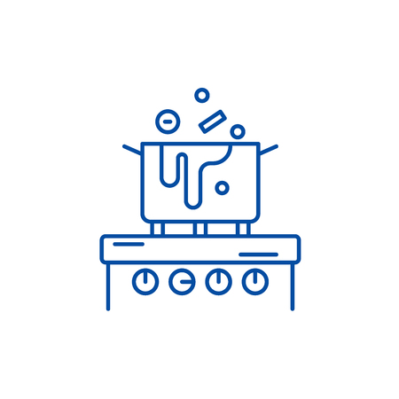 Cooking in the kitchen line concept icon. Cooking in the kitchen flat  vector website sign, outline symbol, illustration. Illustration