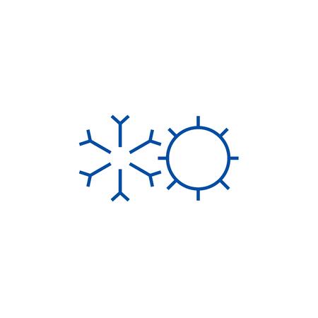 Symbol für das Konzept der Kühlung, Erwärmung. Kühlung, Erwärmung flacher Vektor-Website-Zeichen, Umrisssymbol, Illustration.
