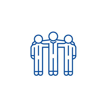 Coopération, icône de concept de ligne de travail d'équipe. Coopération, signe de site Web vectoriel plat de travail d'équipe, symbole du contour, illustration. Vecteurs