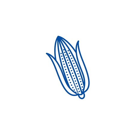Corn line concept icon. Corn flat  vector website sign, outline symbol, illustration. Stock Illustratie