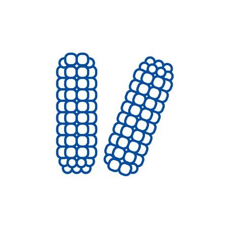 Corn, maize line concept icon. Corn, maize flat  vector website sign, outline symbol, illustration.