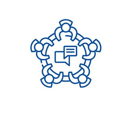 Corporative meeting line concept icon. Corporative meeting flat  vector website sign, outline symbol, illustration. Illustration