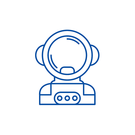Cosmonaut in space line concept icon. Cosmonaut in space flat  vector website sign, outline symbol, illustration.