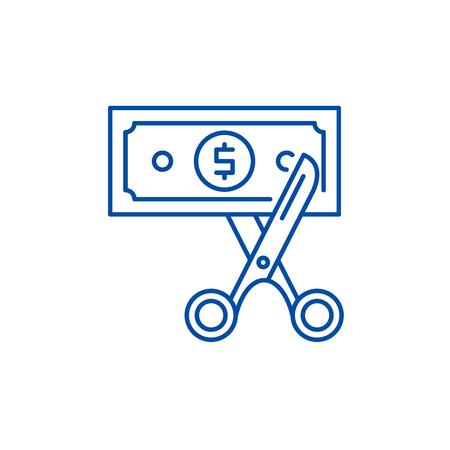 Icône de concept de ligne d'optimisation des coûts. Optimisation des coûts vector plate signe site Web, symbole du contour, illustration. Vecteurs