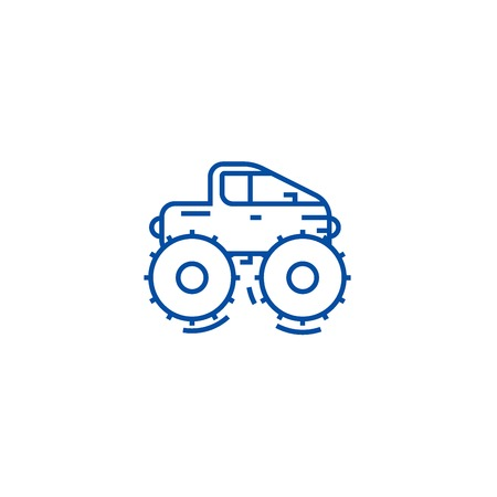 Cross country vehicle,jeep line concept icon. Cross country vehicle,jeep flat  vector website sign, outline symbol, illustration.