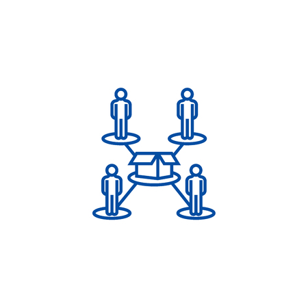 Crowdfunding,people network line concept icon. Crowdfunding,people network flat  vector website sign, outline symbol, illustration.