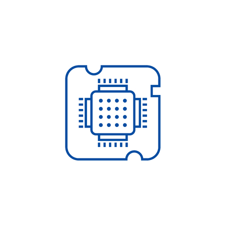 Cpu socket,chip line concept icon. Cpu socket,chip flat  vector website sign, outline symbol, illustration.  イラスト・ベクター素材