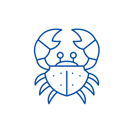 Crab line concept icon. Crab flat  vector website sign, outline symbol, illustration.
