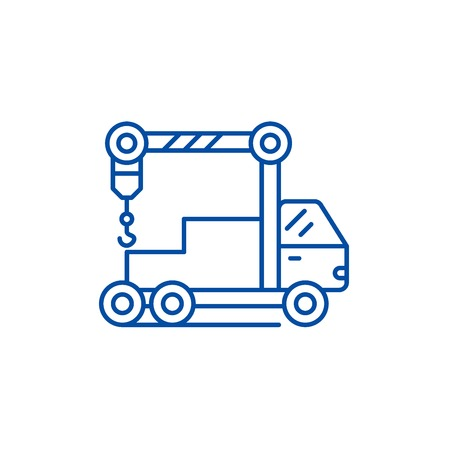Crane machine line concept icon. Crane machine flat  vector website sign, outline symbol, illustration. Illustration