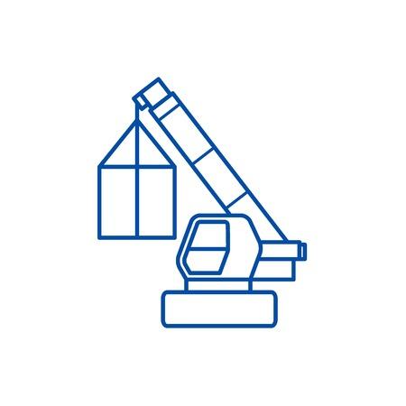Crane, cargo logistics, wrecker line concept icon. Crane, cargo logistics, wrecker flat  vector website sign, outline symbol, illustration. Banque d'images - 119727053