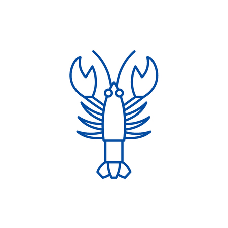 Crayfish line concept icon. Crayfish flat  vector website sign, outline symbol, illustration.  イラスト・ベクター素材